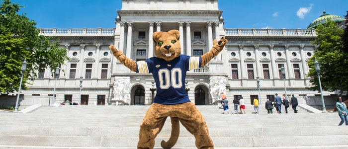 Roc, mascot of the Pitt Panthers, poses in Harrisburg